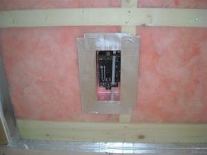 外壁側コンセントボックス、スイッチボックスの気密処理